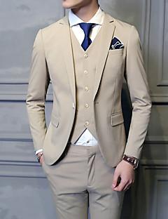 Suits Slim Notch/ Paletó Comum 1 Butão Misto de Algodão Cor Solida 3 Peças Kaki Lapela Reta Sem Pregas (reta) Kaki Sem Pregas (reta)