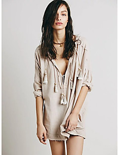 Women's Casual/Daily Sexy Spring / Fall T-shirt,Solid V Neck Long Sleeve Beige / Orange Cotton / Linen Thin