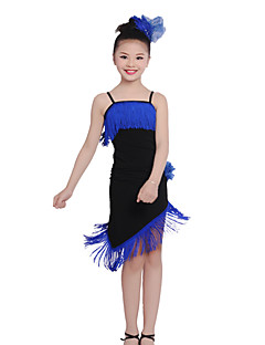 Children's Performance Cotton Ruched / Tassel(s) 2 Pieces Latin Dance Long Sleeve Latin Dance Outfits
