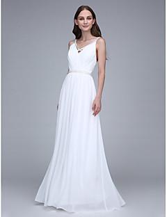 2017 Lanting Bride® Floor-length Chiffon Bridesmaid Dress - Spaghetti Straps with Crystal Detailing