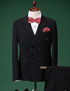 Obleky Slim Úzké otevřené Dvouřadé, se dvěma knoflíky Směs bavlny Jednobarevné 2 ks Černá / Burgundská Rovné s klopouŽádný (rovné