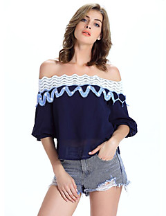 Women's Casual/Daily Vintage Summer Blouse,Solid Boat Neck ½ Length Sleeve Blue / White Polyester Medium