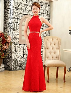 Formal Evening Dress Trumpet / Mermaid Halter Floor-length Lace with Beading