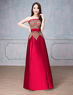 Formal Evening Dress A-line Scoop Floor-length Satin with Bow(s)