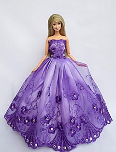 Prinzess-Linie Kleider Für Barbie-Puppe Lila Kleider Für Mädchen Puppe Spielzeug