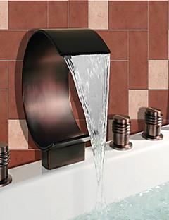 Antik Romanische Wanne Wasserfall / Breite spary / Handdusche inklusive with  Keramisches Ventil Zwei Griffe Fünf Löcher for  Bronze mit