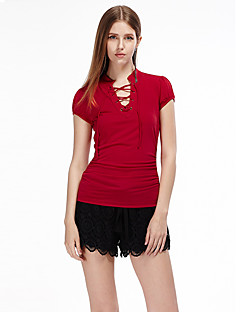 Women's Lace up Casual/Daily Simple Summer T-shirt,Solid V Neck Short Sleeve Red / Black Polyester / Spandex Thin