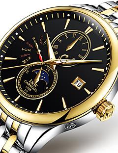 Férfi Divatos óra / mechanikus Watch Automatikus önfelhúzós Világítás / Holdfázis Rozsdamentes acél Zenekar Menő / Alkalmi Fehér / Arany