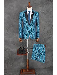 חליפות גזרה מחוייטת סגור Single Breasted One-button פוליאסטר דוגמאות שני חלקים כחול ים דש ישר ללא (חלק קדמי שטוח) כחול ללא (חלק קדמי שטוח)