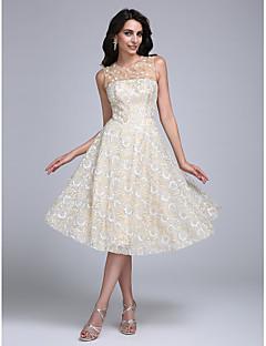 2017 prom cocktailparty kjole a-line juvel knælang blonde med beading / flower (s)