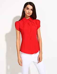 אחיד צווארון חולצה פשוטה פורמאלי חולצה נשים,אביב / קיץ / סתיו שרוולים קצרים אדום / לבן / צבעוני אטום / דק כותנה