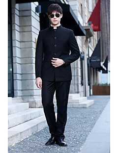 2017 костюмы уменьшают подходящие мандарин воротник одной грудью более кнопки полиэфирных твердые 2 штуки черные прямые трубопроводных черный