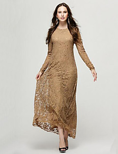 Women's Boho Solid Lace Hollow Out Hin Thin Slim Elegance Sheath Dress,Round Neck Maxi