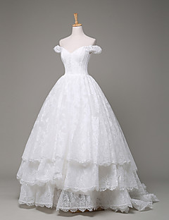 Ball Gown Wedding Dress Sweep / Brush Train Off-the-shoulder Lace with Lace