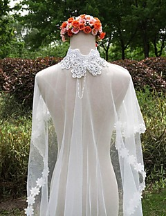 Wedding Veil One-tier Cathedral Veils Lace Applique Edge Lace White