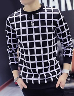 Men's Long Sleeve Hoodie & Sweatshirt,Polyester Plaids
