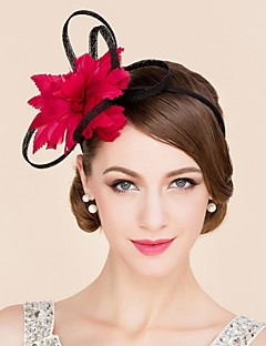 Women's / Flower Girl's Feather / Flax Headpiece-Wedding / Special Occasion / Casual Fascinators / Hats 1 Piece