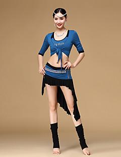 ריקוד בטן תלבושות בגדי ריקוד נשים אימון מודאלי קריסטלים / rhinestones / עטוף / קפלים 3 חלקים שרוול קצר נפול מעיל / חצאית / עליוןvest M: