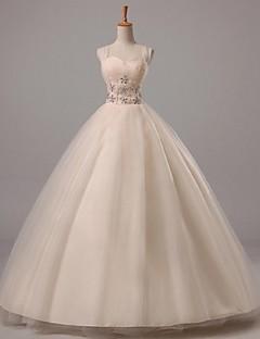 볼 드레스 웨딩 드레스 바닥 길이 스트랩 튤 와 비즈