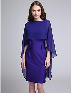 Lanting Bride®Knee-length Chiffon / Jersey Bridesmaid Dress Sheath / Column Bateau with