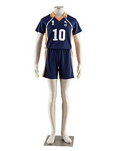 Inspiriert von Haikyuu Hinata Syouyou Anime Cosplay Kostüme Cosplay Kostüme Einfarbig Blau / Orange Kurze ÄrmelT-Shirt-Ärmel / Kurze