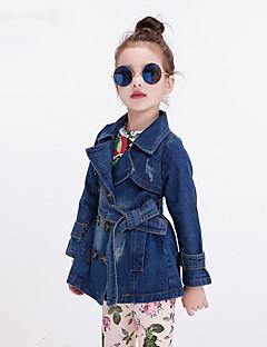 Casual/Dagelijks-Effen-Polyester-Lente / Herfst-Girl's-Jeans / Colbert & Jas / Trenchcoat-Blauw