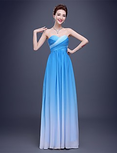 Floor-length Chiffon Color Gradient Bridesmaid Dress - Sheath / Column Sweetheart with Side Draping