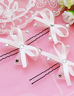 Women's Satin Headpiece-Wedding Hair Pin 1 Piece White
