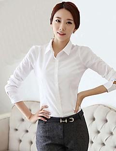 Höst Enfärgad Långärmad Ledigt/vardag / Arbete Skjorta,Enkel Kvinnors Tröjkrage Polyester Medium Vit