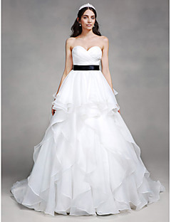 Lanting Bride A-line Wedding Dress Chapel Train Sweetheart Organza with Criss-Cross