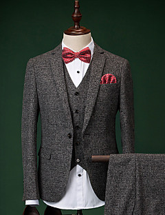 Suits Slim Fit Notch Single Breasted One-button Cotton 3 Pieces Dark Gray Straight Flapped None Dark Gray None