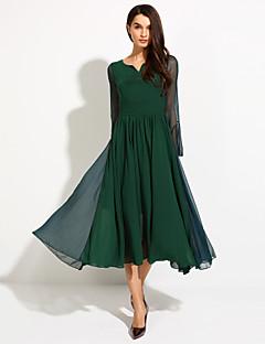 De las mujeres Corte Swing Vestido Vintage / Casual Un Color Midi Escote en Pico / Escote Redondo Seda / Poliéster