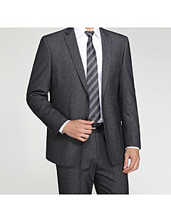 2017 Suits Tailored Fit Notch Single Breasted Two-buttons Wool / Cotton Blend Solid 2 Pieces Straight Flapped
