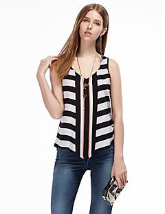 heartsoul kvinders gå ud simpel sommer t-shirt, stribet rem ærmeløs sort polyester tynd