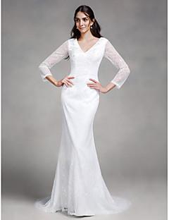 Lanting Bride® בתולת ים \ חצוצרה שמלת כלה  שובל קורט צווארון וי תחרה עם כפתור / תחרה