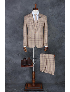 Suits Tailored Fit Peak Single Breasted One-button Polyester Checkered / Gingham 3 Pieces Straight Flapped None Khaki