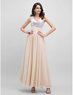 Formal Evening Dress - Sparkle & Shine A-line V-neck Floor-length Chiffon with Sash / Ribbon Pleats Sequins