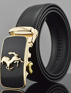 Men Horse Icon Automatic Buckle Genuine Leather Wide Belt,Work / Casual