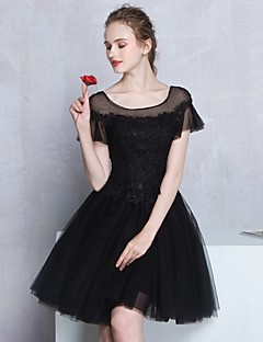 Cocktail Party Dress - Little Black Dress A-line Scoop Knee-length Tulle with Appliques