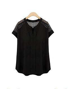 Damen Solide Übergröße Lässig/Alltäglich Bluse,V-Ausschnitt Sommer Kurzarm Weiß / Schwarz Polyester Mittel