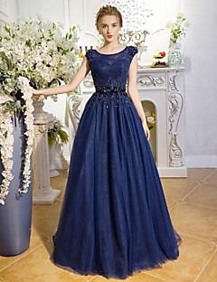 Serata formale Vestito Linea-A Con decorazione gioiello Lungo Di pizzo / Tulle con Con strass