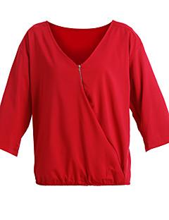 Enfärgad Trekvartsärm T-shirt Kvinnors V-hals Bomull