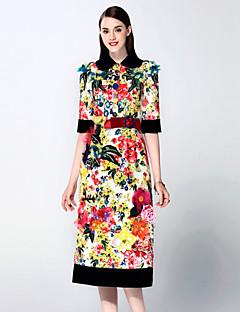 mary yan& yu Frauen anspruchsvolle Kleid eine Linie / Mantel Gehen, Ärmel gestickt Hemdkragen midi ½ Länge