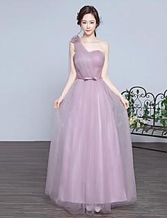 포멀 이브닝 드레스 A-라인 원 숄더 바닥 길이 레이스 / 튤 와 플라워 / 캐스케이드 주름장식