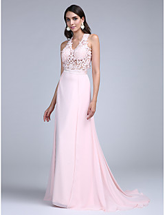 2017 TS Couture® Prom Formal Evening Dress A-line Halter Court Train Chiffon with Appliques