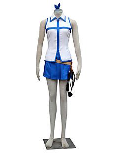 geinspireerd door Fairy Tail Lucy Heartfilia Anime Cosplay Kostuums Cosplay Kostuums Kleurenblok Wit / Blauw Mouwloos Top / Rok