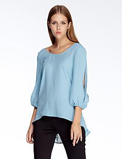 3/4 ærmelængde Rund hals Tynd Blå Ensfarvet Sommer Simpel I-byen-tøj Bluse,Polyester