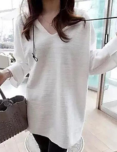 Women's Casual/Daily Cute Regular Hoodies,Solid White / Brown Round Neck ½ Length Sleeve Cotton Spring / Summer