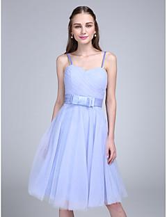 2017 Lanting vestido bride® na altura do joelho da dama de honra tule - uma linha de cintas de espaguete com curva (s)