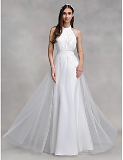 Lanting Bride® A-line Wedding Dress Floor-length Halter Chiffon / Tulle with Draped